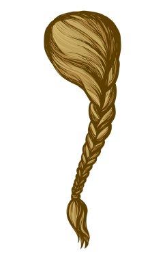 Long braid. Vector drawing