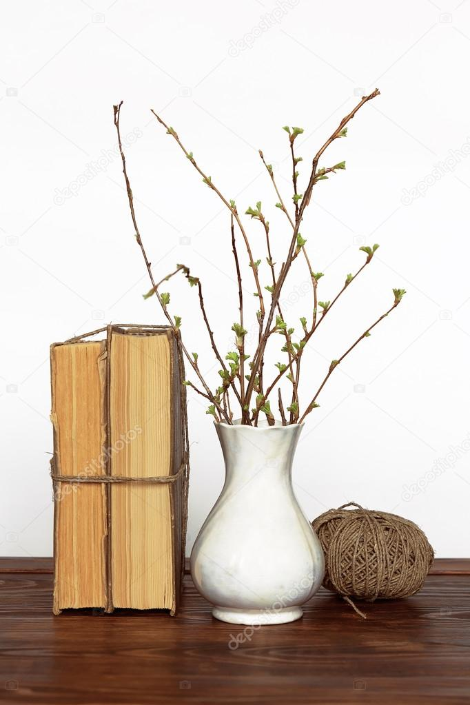 Old Books Vase With Twigs And Thread Stock Photo Karych 104873634