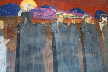 Mural with the funeral of the Pope and the ghosts on the wall of The Armenian Cathedral in Lviv, Ukraine