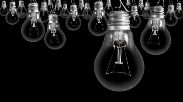 Glühbirnen gehen von dunkel zu hell mit Failure and Success Fasertext auf schwarzem Hintergrund. Hochwertige 4k-Videos