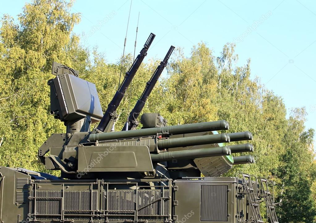 Pantsir-S1 - it is a self-propelled ground-based combined short to medium range surface-to-air missile and anti-aircraft artillery weapon stock vector