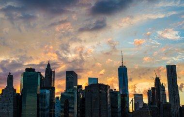 Panoramic view of Manhattan skyline at sunset, New York city