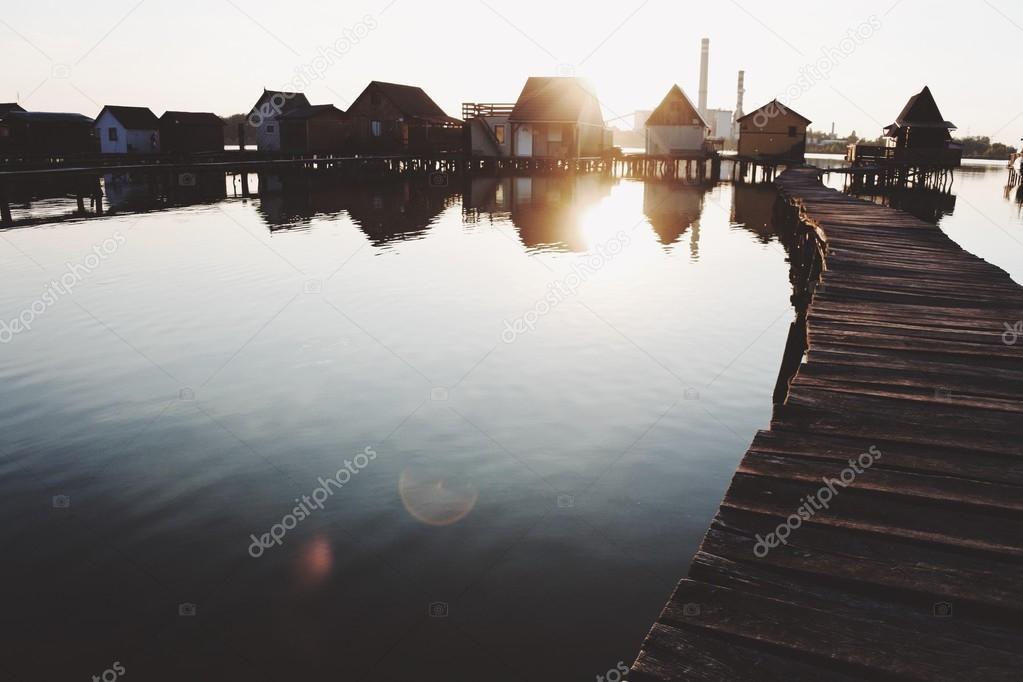 small houses over the lake