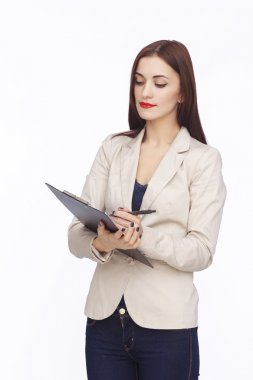 portrait of businesswoman with tablet
