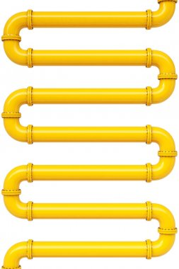 Yellow gas pipes. Isolated on white. stock vector