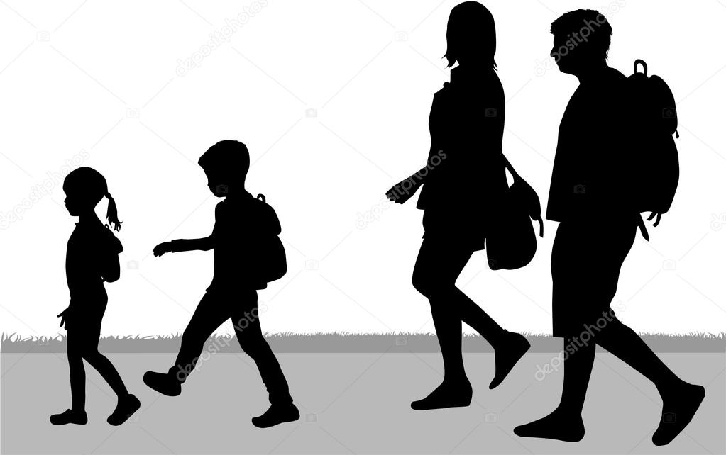 Familia De Silueta En Un Paseo