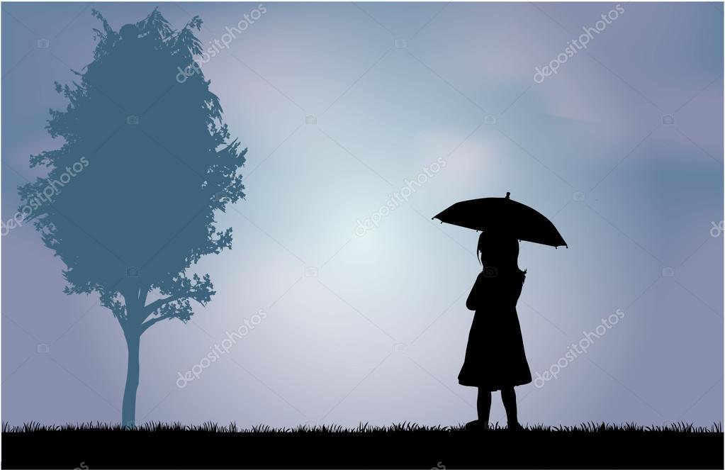Chica Con Paraguas — Vector