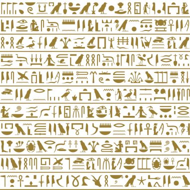 Ancient Egyptian Hieroglyphs Seamless Horizontal