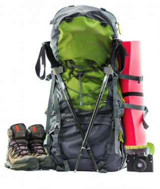 Large green touristic backpack isolated on white