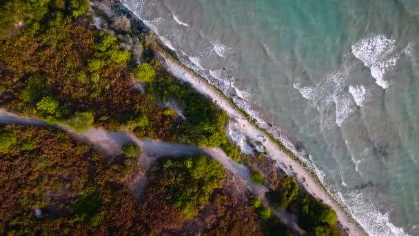 Aerial view of wave, sea and sandy beach. Perspective is straight down.