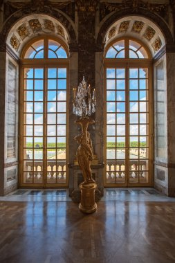 Luxury palace glass windows in Versailles palace,  France