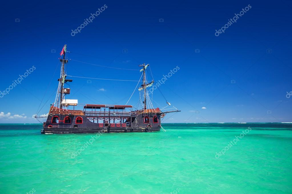 A replica of an old ship in the Caribbean sea near Punta Cana