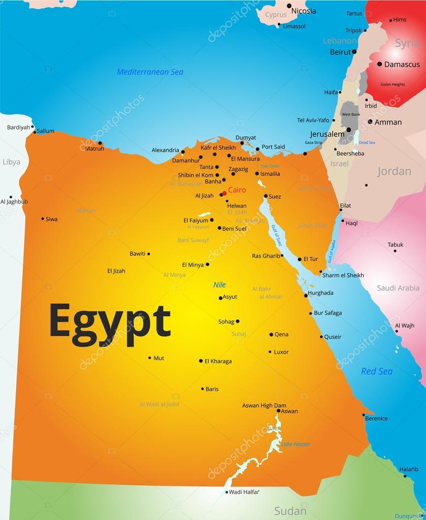 egipto mapa Mapa de color del vector de Egipto — Archivo Imágenes Vectoriales  egipto mapa
