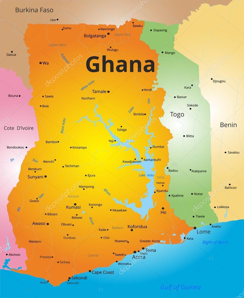 mapa do pais gana mapa de cor de Gana — Vetores de Stock © olinchuk #103601748 mapa do pais gana