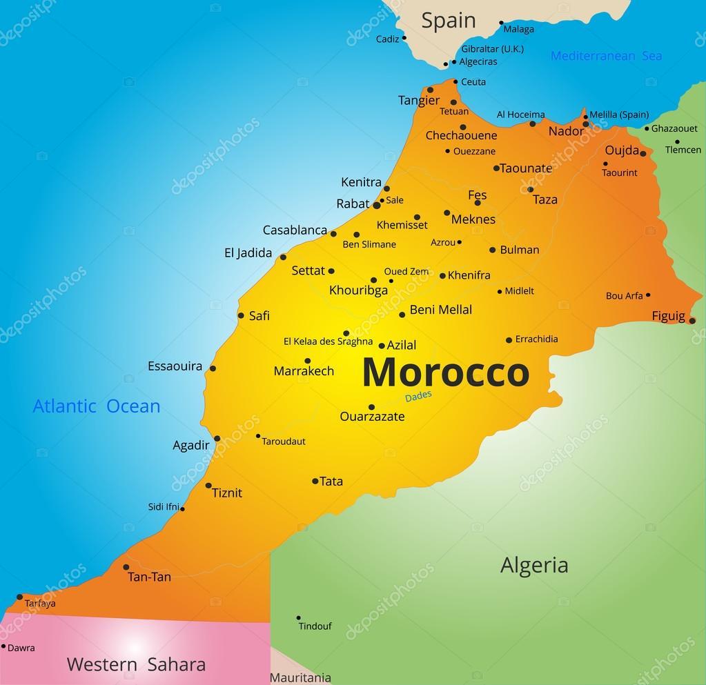 mapa de marrocos mapa de cor do país de Marrocos — Vetor de Stock © olinchuk #104021254 mapa de marrocos