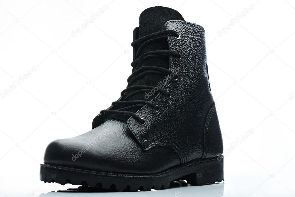 Armee Lederstiefel Stil schwarze mit Schnürung Stockfoto