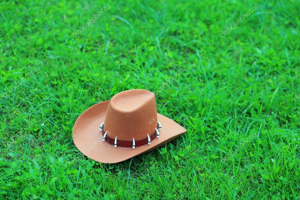 Sombrero vaquero marrón sobre verde hierba — Foto de stock © dimarik ... eb16b504010