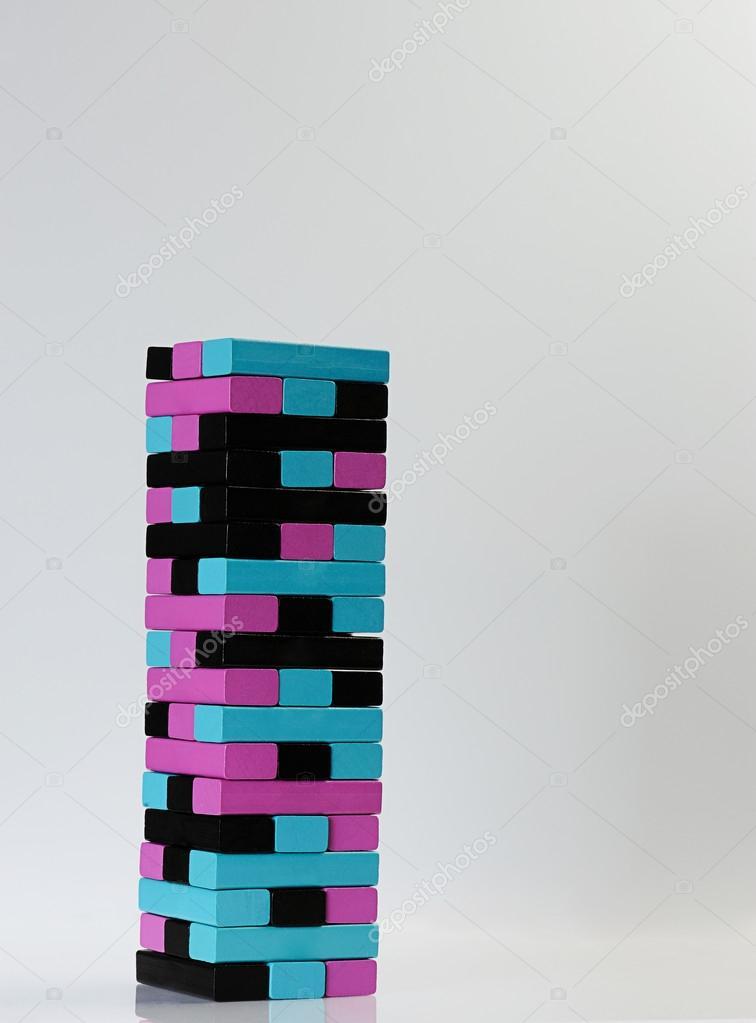 Farbe Jenga Spiel — Stockfoto © dimarik #95742860