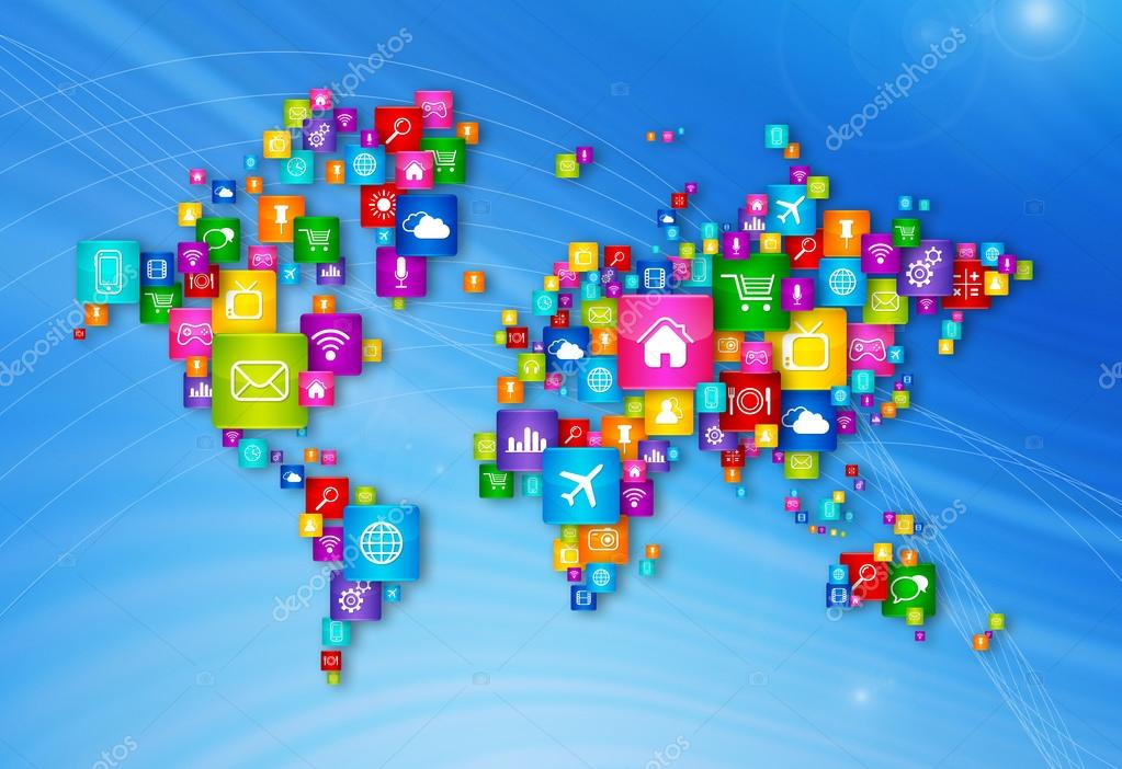 World Map Flying Desktop Icons Collection Stock Photo C Daboost