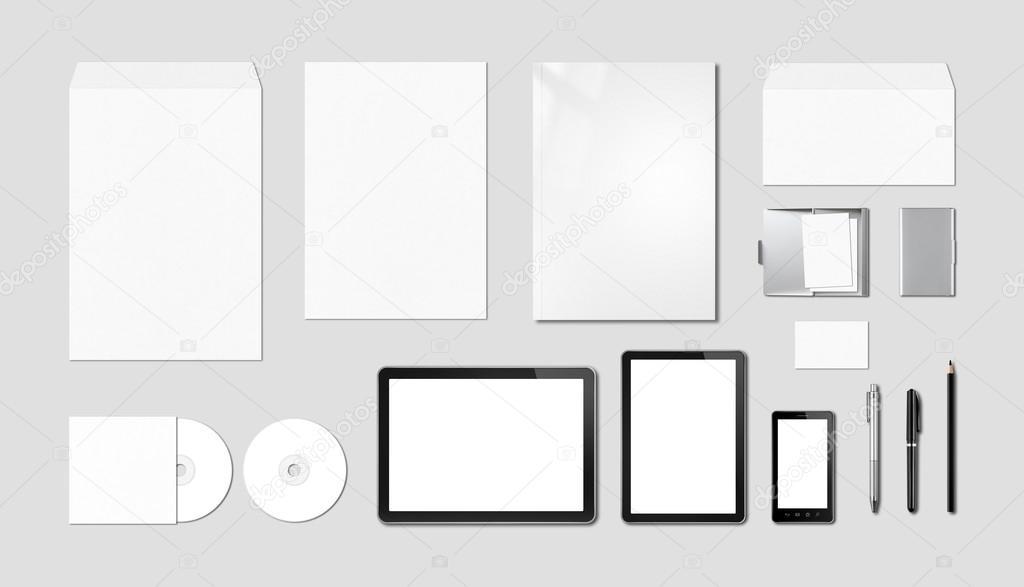 Corporate Branding Mockup Template Grey Background Stock Photo
