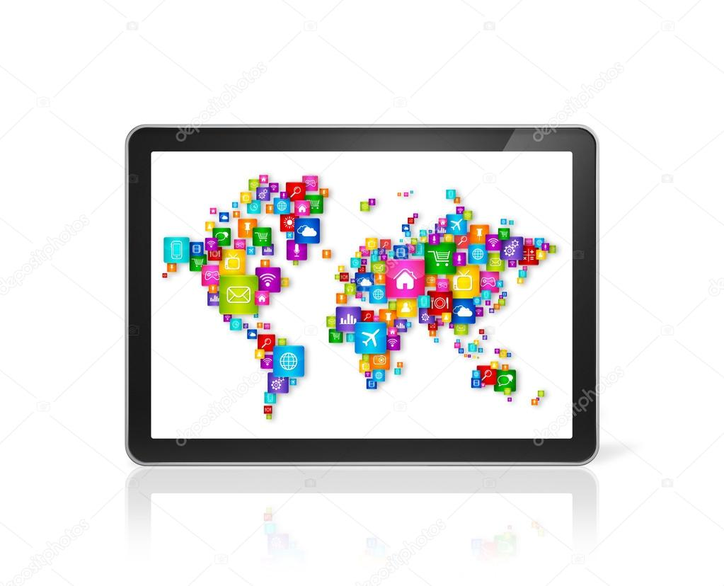 World map made of icons on digital tablet pc cloud computing co 3d world map made of icons on digital tablet pc cloud computing concept photo by daboost gumiabroncs Image collections
