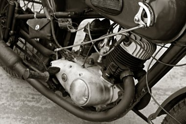 Close up view of old motorcycle engine.