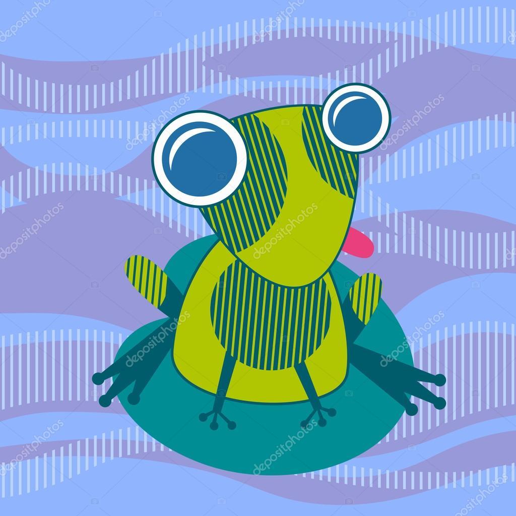 desenho animado colorido sapo sente se na folha de lírio de água