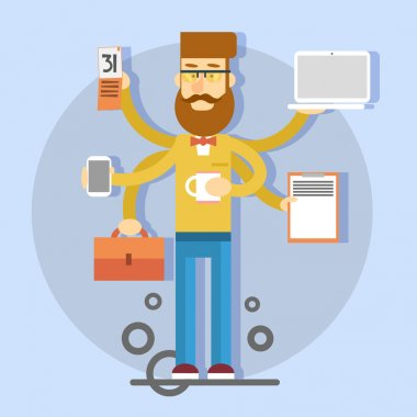 Casual Busy Business Man With Many Hands Holding Cup, Suitcase, Laptop, Smartphone, Calendar