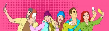People Group Students Taking Selfie Photo On Smart Phone Pop Art