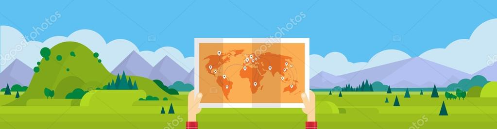 Hand Hold World Man Travel Tourism Concept Mountain Landscape Background