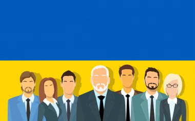 Senior Businessmen Group of Business People Team Over Ukrainian Flag