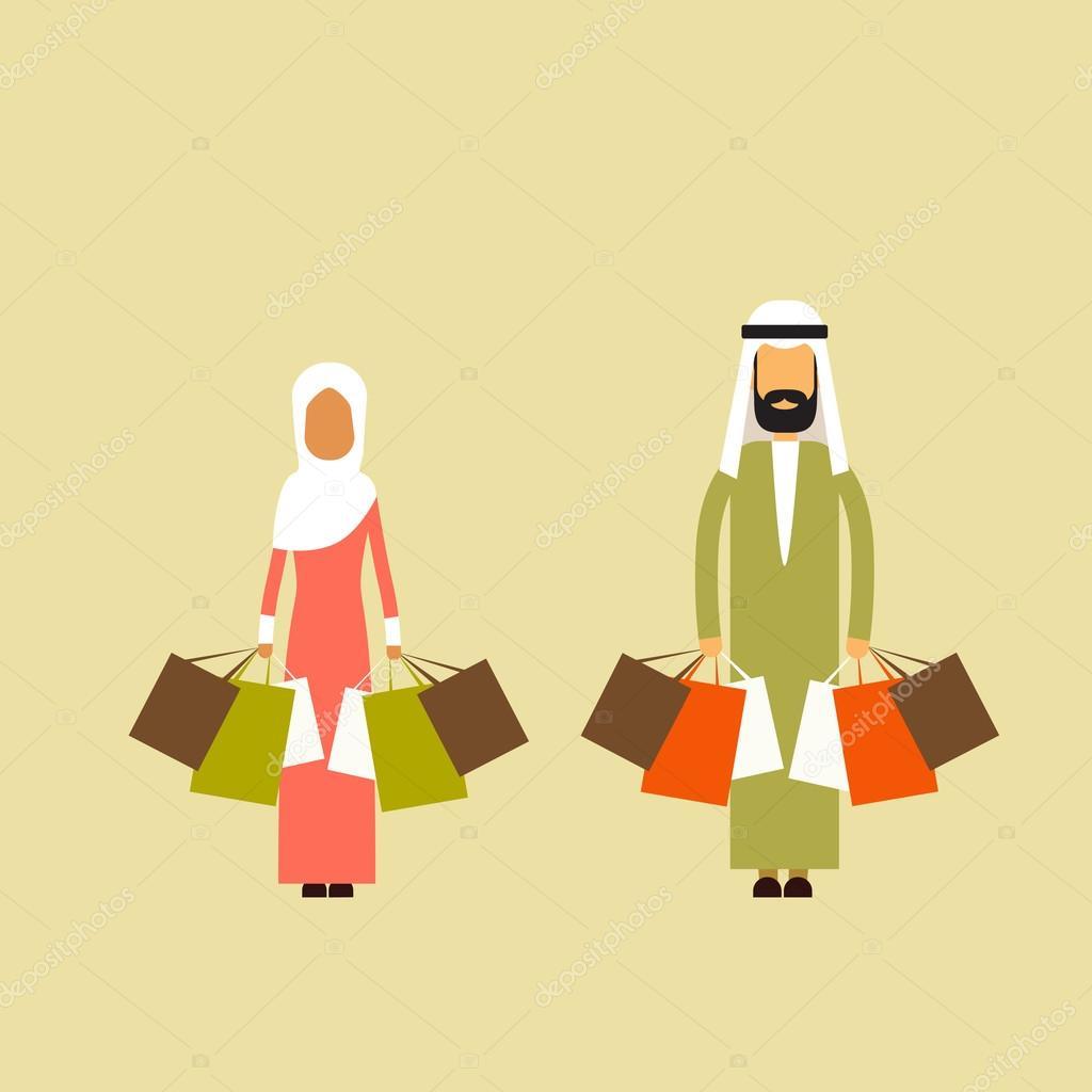 la meilleure attitude 52bf8 c2b68 Couple arabe musulman femme posséder sacs à provisions ...