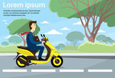 Obchodní muž jízda motocyklů elektrický skútr kopie prostor