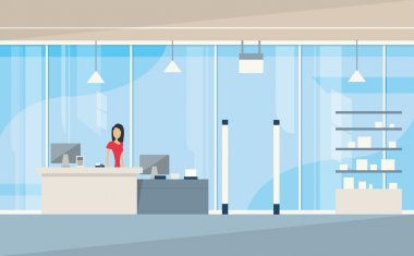 Shop Interior Sales Woman Stand Near Cash Desk