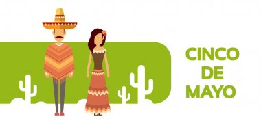 Mexican Couple Man Woman Wear Traditional Clothes Cactus Mexico National Holiday Cinco De Mayo