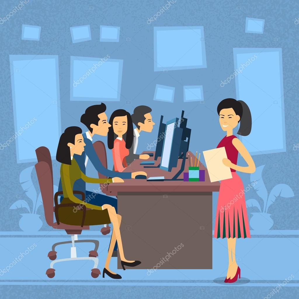asian business people group work at computer desktop businesswoman