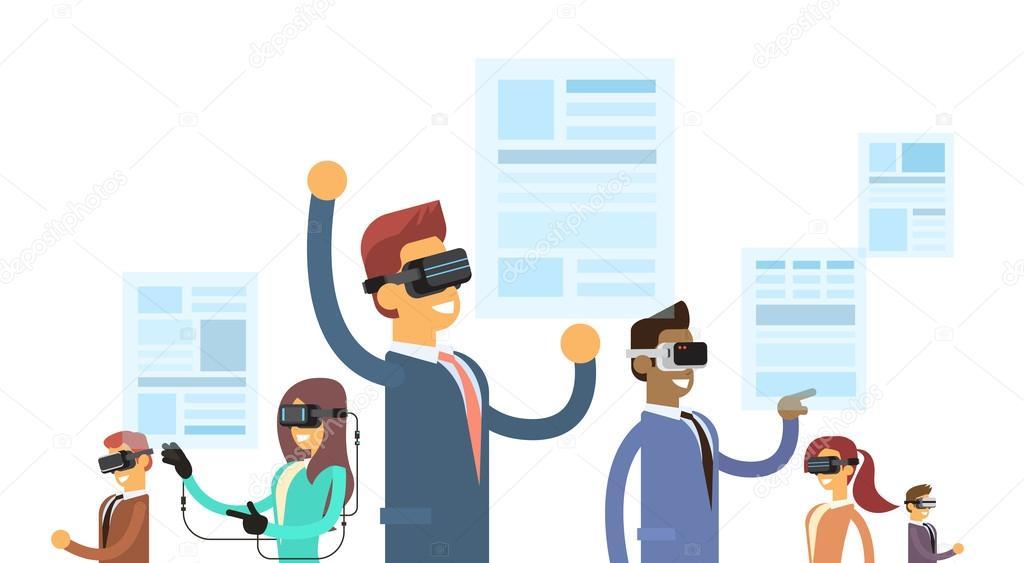 Üzleti People Group csapat kopás valóság digitális szemüveg fejhallgató  olvasható virtuális újság — Stock Vector b26b7d0e07