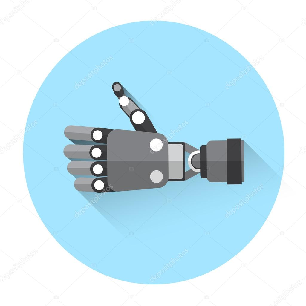 Modern Robot Hand Thumb Up Icon