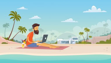 Man Freelance Remote Working Place Using Laptop Beach Summer Vacation Tropical Island