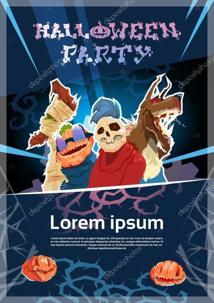 Feliz Halloween Fiesta Zombi Noche Cartel Invitación Banner