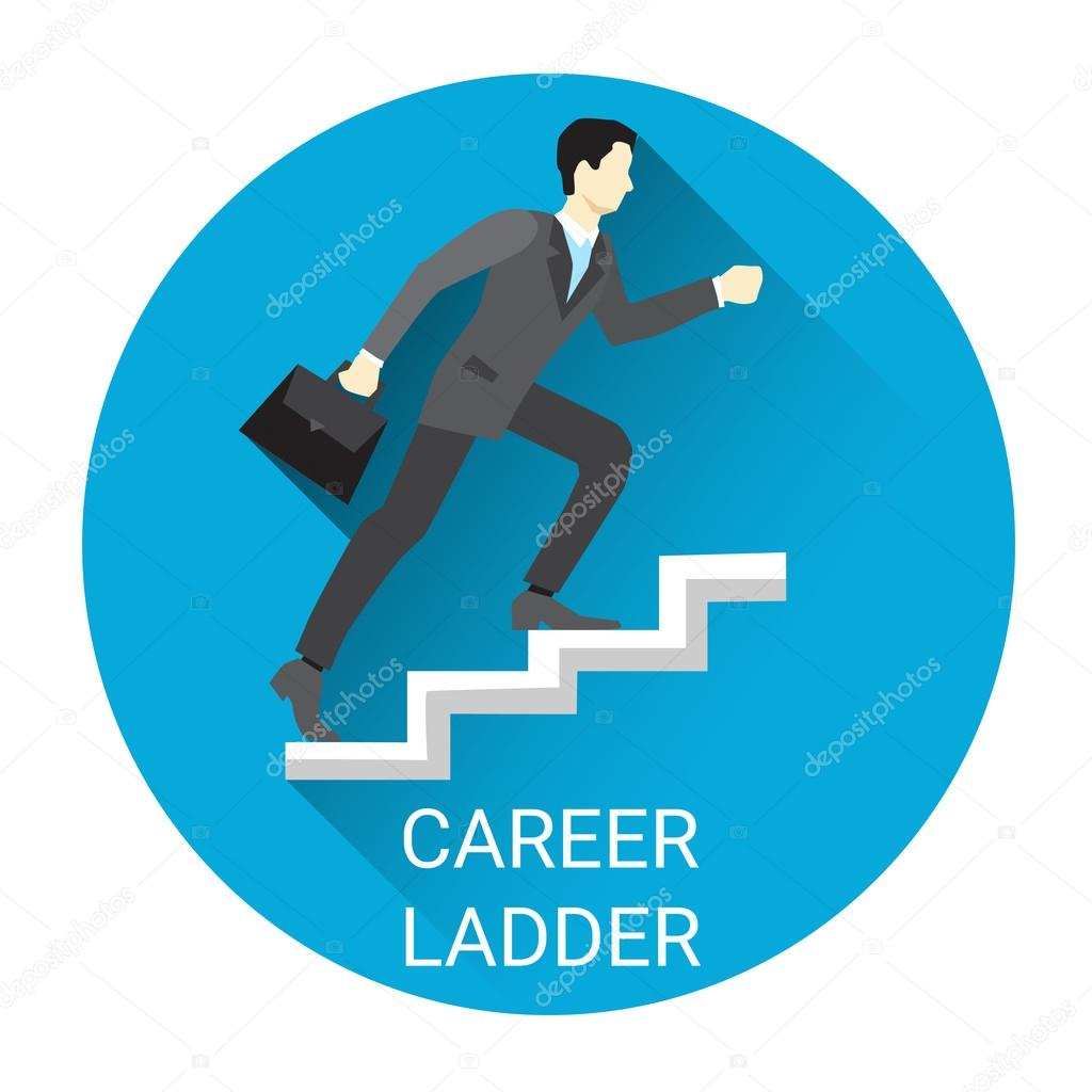 business man moving up career ladder icon flat vector illustration vector by mast3r