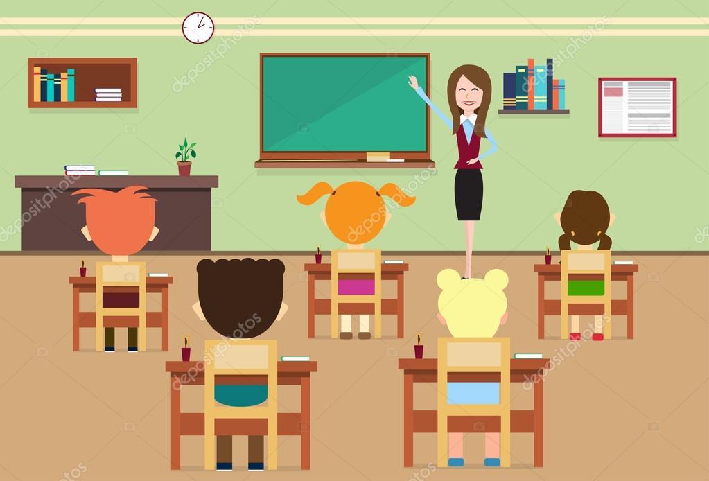 Okul Ders öğrenciler Ve öğretmen Sınıf Oda Iç