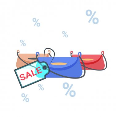 fashion women handbags with sale tag black friday discount concept