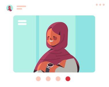 female muslim doctor in web browser window having virtual conference medicine healthcare concept