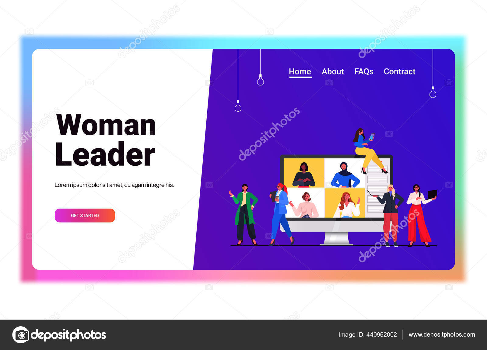 Pengusaha Memiliki Konferensi Online Pertemuan Ras Campuran Wanita Bisnis Membahas Selama Panggilan Video Stok Vektor C Mast3r 440962002