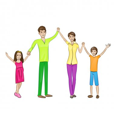Happy family raised arms up