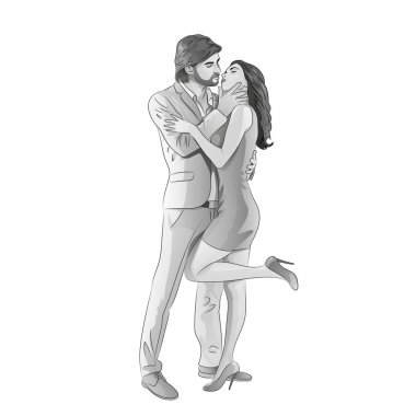 Love couple romantic kissing on date, fashion man and woman full length gray vector illustration clip art vector