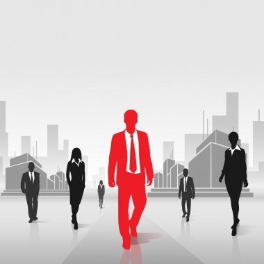 Red businessman silhouette