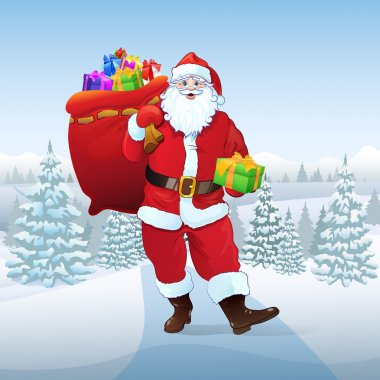 Santa Claus hold sack with presents