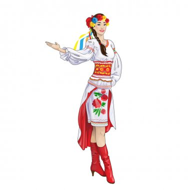Woman in Ukrainian national traditional costume